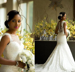 Wholesale Amazing Mermaid - Luxury African Mermaid Wedding Dresses 2016 Amazing Sheer Jewel Neck Back Covered Buttons Bridal Gowns Chapel Train Lace Wedding Dress