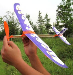 Wholesale Toy Airplane Rubber Band - Wholesale-FD1924 Durable Practical DIY Airplane Aircraft Model Powered by Rubber Band Toys 1pc