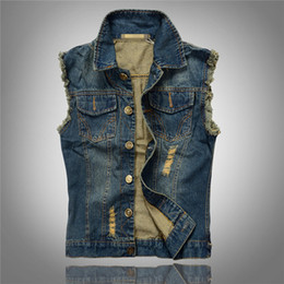 Wholesale Mens Vests Sale - Wholesale- 2016 Hot Sales Ripped Jean Jacket Mens Denim Vest Plus Size M - 6XL Jeans Waistcoat Men Cowboy Brand Sleeveless Jacket Male