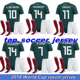 Wholesale G Sock - 2018 World Cup mens Soccer jersey Kits socks Mexico home green CHICHARITO M FABIAN G DOS SANTOS 2017 2018 Mexico Football shirt