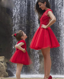 Wholesale Mini Wedding Cocktail Dress - Pretty 2017 Red Short Wedding Party Dresses Applique Lace Top Tulle Skirt Prom Gowns Mother And Daughter Dress Custom Made