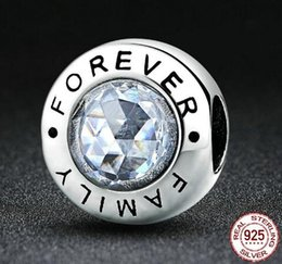 Wholesale family circle - High Quality 925 Sterling Silver Family Forever Charm Beads Clear CZ Fit pandora Charm Bracelet Authentic Jewelry Gift