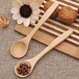 Wholesale Tea Baby - 13cm Wooden Tea Spoon Feeding Small Wooden Kid Baby Child Safety Spoon Coffee Spoon Baby Spoons