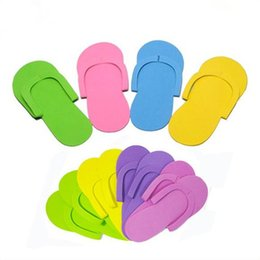 Wholesale Beauty Plastic Disposable - EVA Foam Salon Spa Slipper Disposable Pedicure thong Slippers Disposable slippers Beauty Slipper mixed colors Fast Shipping