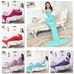 Wholesale Knit Cocoons - Adult Mermaid Tail Blankets Mermaid Tail Sleeping Bags Cocoon Mattress Knit Sofa Blankets Handmade Living Room Sleeping Bag 180X90cm K481