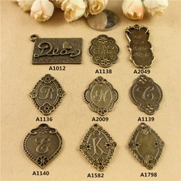 Wholesale Wholesale Metal Jewelry Initials - DIY jewelry accessories wholesale retro Dear alphabet charms, vintage Initial letter English plate type letter connectors metal tag pendants
