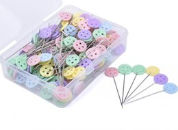 Wholesale Projects Sewing - 1 3 4'' Straight Button Head Pins Decorative Safety Pins For Sewing DIY Arts&Crafts Projects-Boxed free shipping