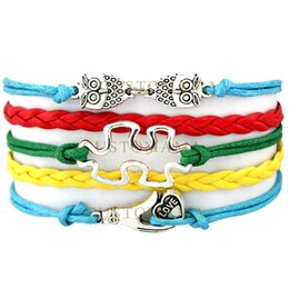 Wholesale Puzzle Blue - Custom-Infinity Love Charm Wrap Bracelets Autism Awareness Love Owls Puzzle Piece Love Hand Blue Red Yellow Green Leather any Themes