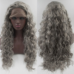 Wholesale Silver Wigs For Women - Factory supply silver grey wavy synthetic lace front wigs for women fashion unbraided hair heat resistant synthetic lace frontal wigs