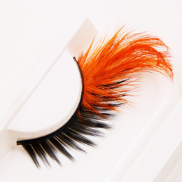 Pestañas naranjas online-Plumas exageradas de la manera pestañas falsas pestañas cruzadas negras anaranjadas pestañas falsas gruesas maquillaje de la etapa pestañas del ojo
