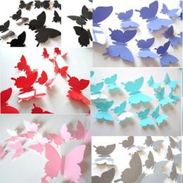 Adesivos plásticos de parede de borboleta on-line-3D Borboleta Adesivos de Parede 12 Pcs Criativo Colorido Removível Casa e jardim Decoração Art DIY Decorações de Plástico