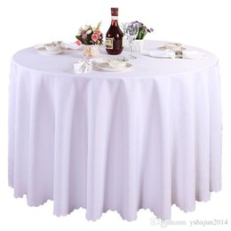 Wholesale Round Wedding Tablecloths - 1 pieces White Round Polyester Wedding Tablecloths Table Covers Table Cloth Decorations Banquet Home Outdoor High Quality