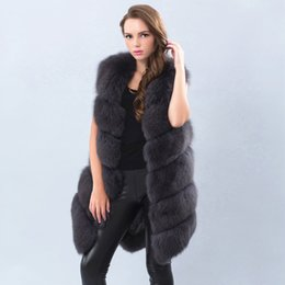 Wholesale Vest Fur Real Fox - natural real fox fur vest 90cm Warm and Thick Long Fox Fur Coat for Women Dark Grey Red