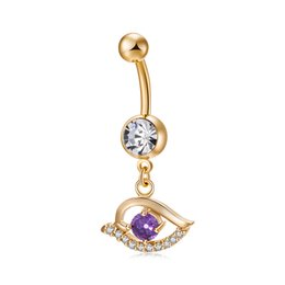Wholesale angle jewelry - 18K Yellow Gold Plated Angle Eye Belly Button Ring for Women Belly Piercing Piercing Navel Piercing Rings Body Jewelry BR-245