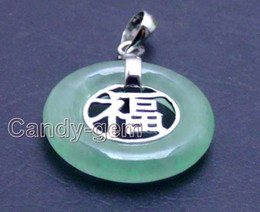 "Wholesale S925 Jade Pendant - SALE Big 19mm Round natural Green Jade ""Fu"" word silver S925 Pendant"