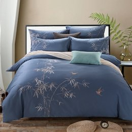 Wholesale King Bamboo Sheets - bamboo Embroidery Cotton Blue King Queen size Bedding Set 4PCS Duvet Cover set Sheet Bedspread housse de couette cama