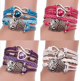 Wholesale American Owls - Fashion Woven Multilayer Restore Ancient Ways The Owl Infinity Charm Bracelet Statement Bracelets For Women Men Jewelry