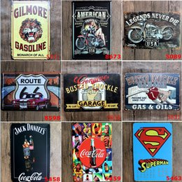 Wholesale Old Bar Signs - 120styles Champion Shell Motor Oil Garage Route66 Retro Vintage TIN SIGN Old Wall Metal Painting ART Bar Man Cave Pub Restaurant Home Decor