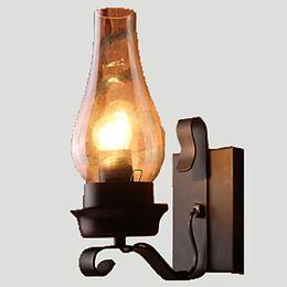 Деревенское освещение онлайн-Nordic Rustic Ретро Стеклянные Настенные Светильники Спальня Прикроватная Бра Бра Старинные Промышленные Настенные Светильники Творческий Утюг Лампы