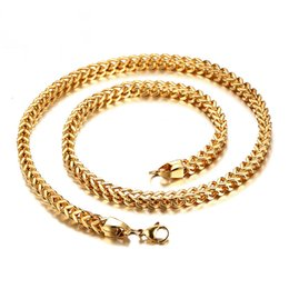 Wholesale Wide Gold Choker - Meaeguet Fashion Men Necklace Jewelry 6mm Wide Stainless Steel Long Link Choker Necklace Wholesale Gold Silver Color Necklace NC-082