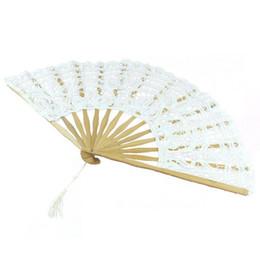 Wholesale Lace Fan Decorations - Wholesale-MYLB-Handmade Cotton Lace Folding Hand Fan for Party Bridal Wedding Decoration ( White)