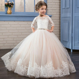 Wholesale Elegant Gowns For Girls - Elegant Blush Tulle Princess Flower Girl Dresses For Weddings Beading Belt Lace Girls Pageant Dress Kids Prom Party Gowns Sleeves