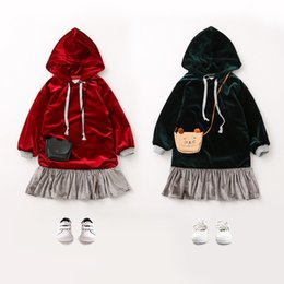 Wholesale Drawstring Dress - Children Autumn dress girls velvet hooded drawstring splicing dress Kids long sleeve falbala princess dress Children fashion Clothes C1494
