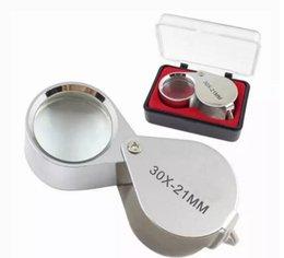 Wholesale mini magnifying glass portable - Mini 30x21mm Jewelers Eye Loupes Jewelry Diamond Magnifiers Magnifying Glass Ingenious portable Loupe Magnifier Silver color in retail box