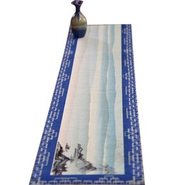 Wholesale Tea Table Mats - Retro Landscape Style Table Runner High-Quality Chinese Crafts Retro Printing Multiple Sizes Mats For Kung Fu Tea Chinese Crafts Mat
