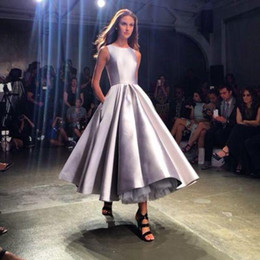 Wholesale Dress Tea Length Pockets - Tea Length Cheap Prom Dresses Off The Shoulder 2017 Weddings Party Dress A-Line Short Prom Gown Cheap Elegant Prom Dress