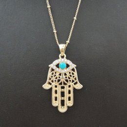 Wholesale Hamsa Eye Necklace - Wholesale-1PC Hamsa Fatima Hand Charm Pendant Necklace Evil Eye Inlaid Turquoise Bohemian Style Gold Accessories 8177