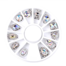 Wholesale Crystal 3d - New 12pcs Box Nail Art Rhinestone Charm Clear AB Alloy Nail Crystal Decorations Wheel 3D Mix Designs Manicure Tools 2017 Sale