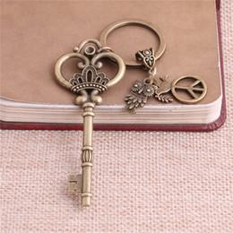 Wholesale Antique Bronze Charms Crown - 2 pcs lot Metal Antique Bronze Key Charm Key Ring DIY Metal Crown Key Pendant Jewelry Making C0249-2