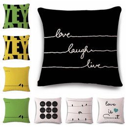 Wholesale Black Sofa Beds - Nordic Fashion Throw Pillow Cushion Cover Home Decor Sofa Bed Cute Animal Birds Printed Cotton Linen Square Cushion Cojines Almohadas