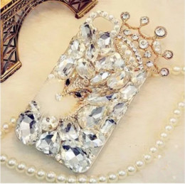 Wholesale Crown Iphone Case Cover - Bling Rhinestone Crystal Diamond Fox Crown flower Soft Back Case Cover For iPhone 7 7Plus 6s Plus samsung s6 s7 s8 edge note5