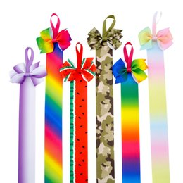 Hairbow di alta qualità di modo con gli archi dei capelli del nastro della coda lunga dell'arcobaleno per gli accessori delle ragazze di anni dell'adolescenza stampati bambini .12pcs \ cheap teen hair accessories da accessori per capelli adolescenti fornitori