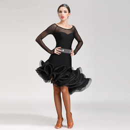 Wholesale black ballroom - New Adult Latin Dance Dress salsa tango Cha cha Ballroom Competition Practice Dance Dress Red Black Blue Rose Purple Sexy Long Sleeve Dress