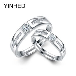 Wholesale Pure Silver 925 Jewelry Set - YINHED 1 Pair Wedding Rings for Women and Men Pure 925 Sterling Silver Jewelry Cubic Zirconia CZ Opening Couple Rings ZR264