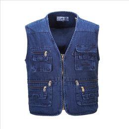 Wholesale Working Jeans - Wholesale- New Hyweacvar Men's Multi Functional Work Vest Multi-Pocket Filming Photographer Denim Jeans Vest