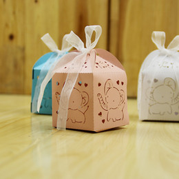 Wholesale Baby Day Out Candy - Hollow Out Love Heart Cute Elephant Favor Holders Carriage Wedding Birthday Baby Shower Party Candy Boxes Gift Box With Ribbon