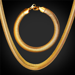 U7 Gold Snake Chain Necklace Bracelet Jewelry Set with 18K Stamp Fashion Men Jewelry 18K Real Gold Plated Bracelet Necklace Set GNH2238 Coupons