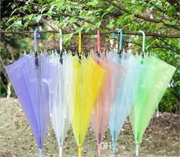 Wholesale Rainbow Umbrellas - Transparent Clear EVC Umbrella Dance Performance Long Handle Rainbow Umbrellas Beach Wedding Colorful Umbrella for Men Women Kids Camping