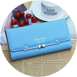 Wholesale Women Leather Pure Wallet - Female wallet girl long style Korean edition student small pure fresh bow rivet 3 fold money clip the wallet child hot style CYM0103