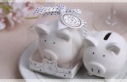 Wholesale Favors Bow - Christening Baptism Gifts Ceramic Mini Piggy Bank Coin Box with Polka-Dot Bow Souvenirs Baby Shower Party Favors
