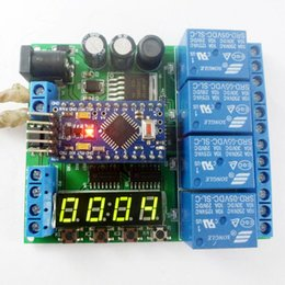 Wholesale 12v Time Delay Relay - DC 12V 24V 4ch Pro mini PLC Board Relay Shield Module for Arduino diy LED Display Cycle Delay Timing Timer Switch Turn ON OFF