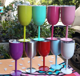 Wholesale Goblet Metal - 10oz Stainless Steel Wine Glass 9 Colors Double Wall Insulated Metal Goblet With Lid Rambler Colster Tumbler Red Wine Mugs OOA1433