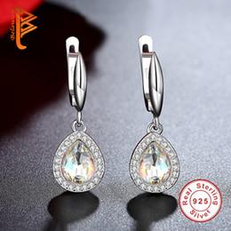 Wholesale heart tear - BELAWANG Vintage Water Drop Hoop Earring Tear Shape Cubic Zirconia Women Earring 925 Sterling Silver Earrings Fashion Jewelry Christmas Gift