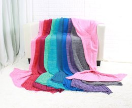Wholesale Fish Yarn - Yarn Knitted Crochet Mermaid Tail Throw Blanket Fish Tail Sofa Tv Beach Blankets Warm Knitted Throw for Winter Spring Autumn 95x195cm