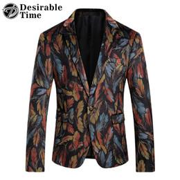 Wholesale Colorful Blazers - Wholesale- Mens Colorful Velvet Blazers And Suit Jackets 2017 New Arrival Wedding Dress Men Slim Fit Floral Blazer Designs DT081