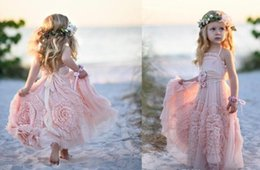 Wholesale Lace Ivory Christening Dresses - 2017 Custom Made Cheap Pink Flower Girls Dresses For Wedding 2016 Lace Applique Ruffles Kids Formal Wear Sleeveless Long Beach Girls Pageant